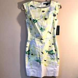 French Connection yellow poppy shift dress